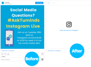 Instagram post embed before and after Facebook API change